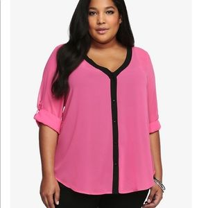torrid collarless chiffon blouse color pink flambe